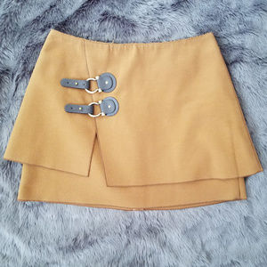 Anthropologie Meadow Rue cognac felt layered skirt